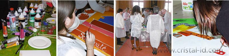 team building fresque géante : la coopération, l'écoute et le partage de bonnes pratiques.